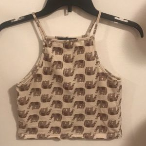 Forever 21 elephant print crop medium